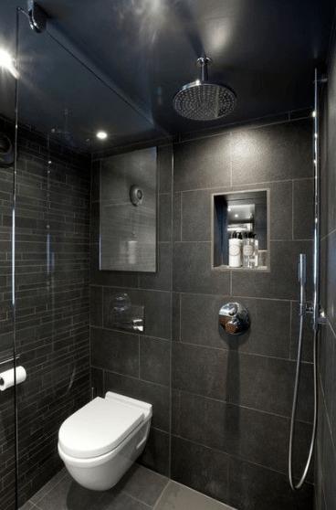 26 Beautiful Design Ideas For Small Bathroom Viviehome Small Dark Bathroom Small Bathroom Black Bathroom