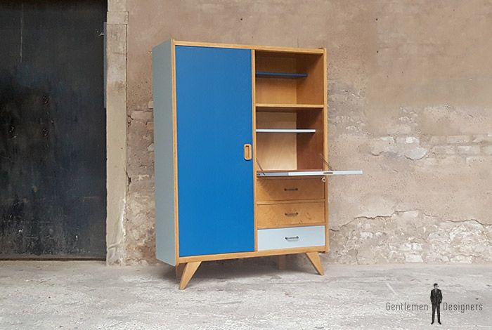 Armoire vintage / chêne relooke bleu gris, pieds compas / vin-arm-004