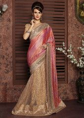 Golden & Pink Color Half Net & Half Brasso Festival & Function Sarees : Vrushika Collection YF-31181