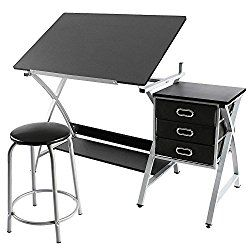 YAHEETECH Adjustable Drafting Table Drawing//Draft//Art//Craft Table//Desk with Stool and Storage Drawers Art Studio Design Work Station