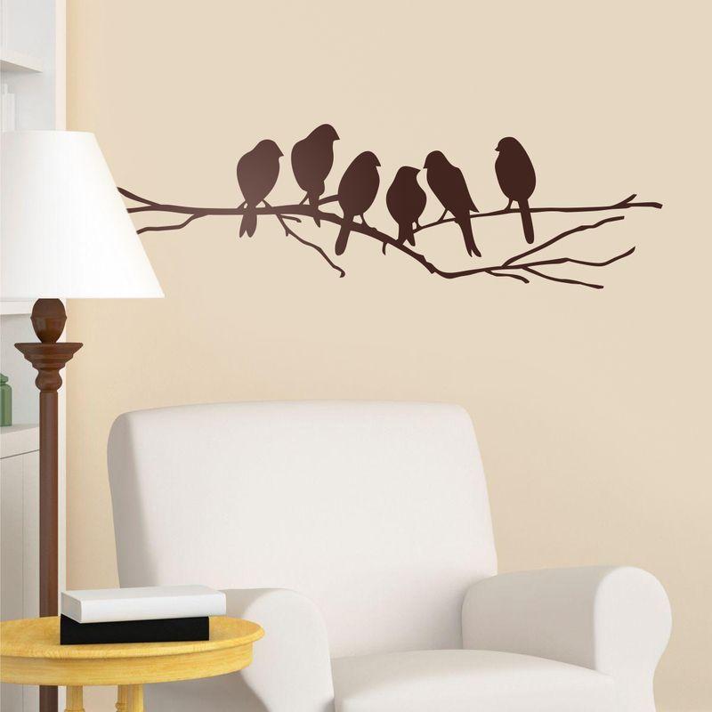 Vinilos decorativos 6 p jaros sobre una rama vinilo for Vinilo decorativo madera