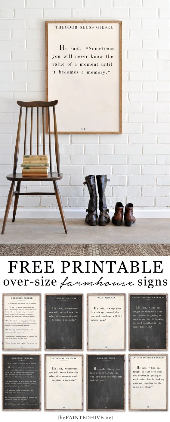 Amazing set of HUGE free printable book page quotes  For the Home