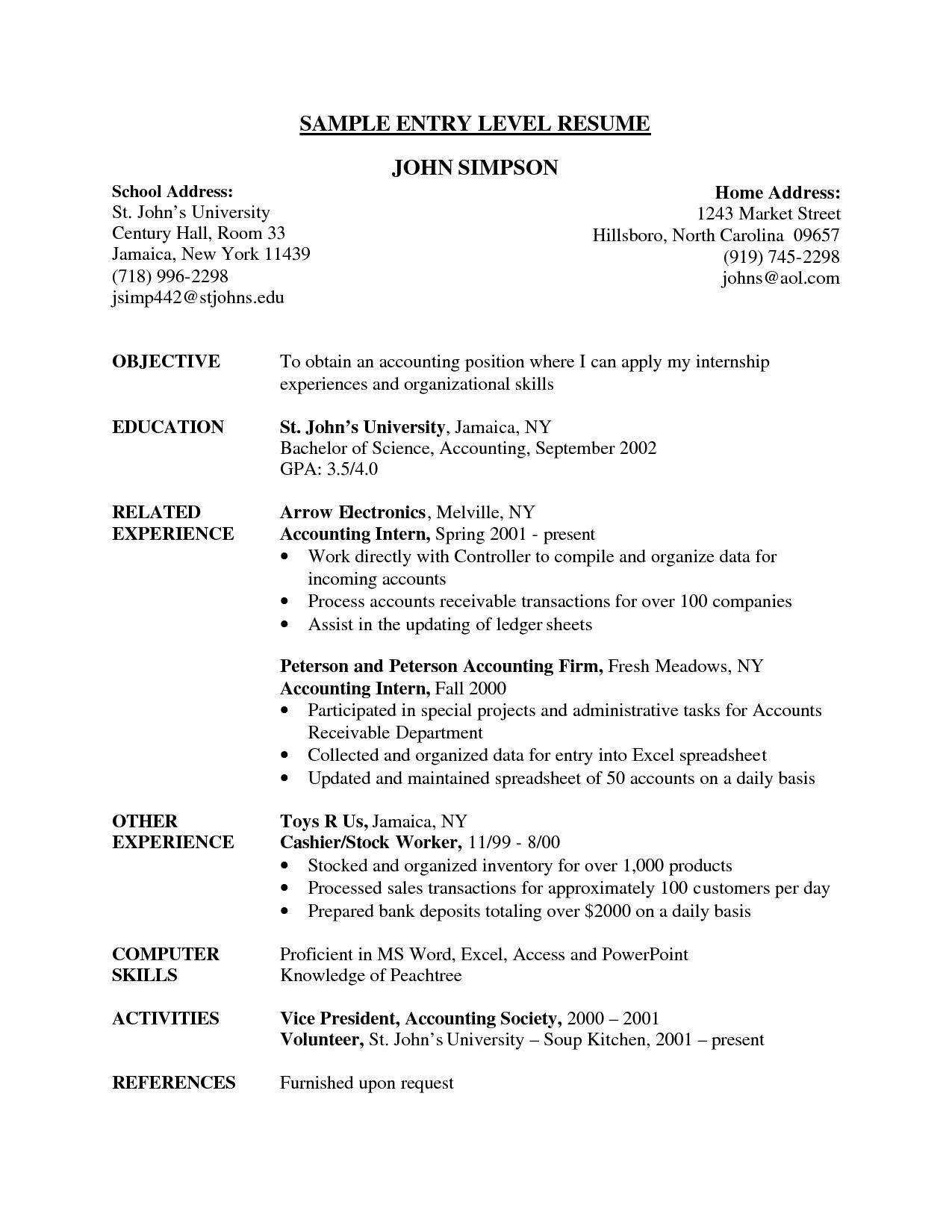 Accounting Internship Resume Objective Resume Examples Entry Level  Resume Examples  Pinterest  Resume .