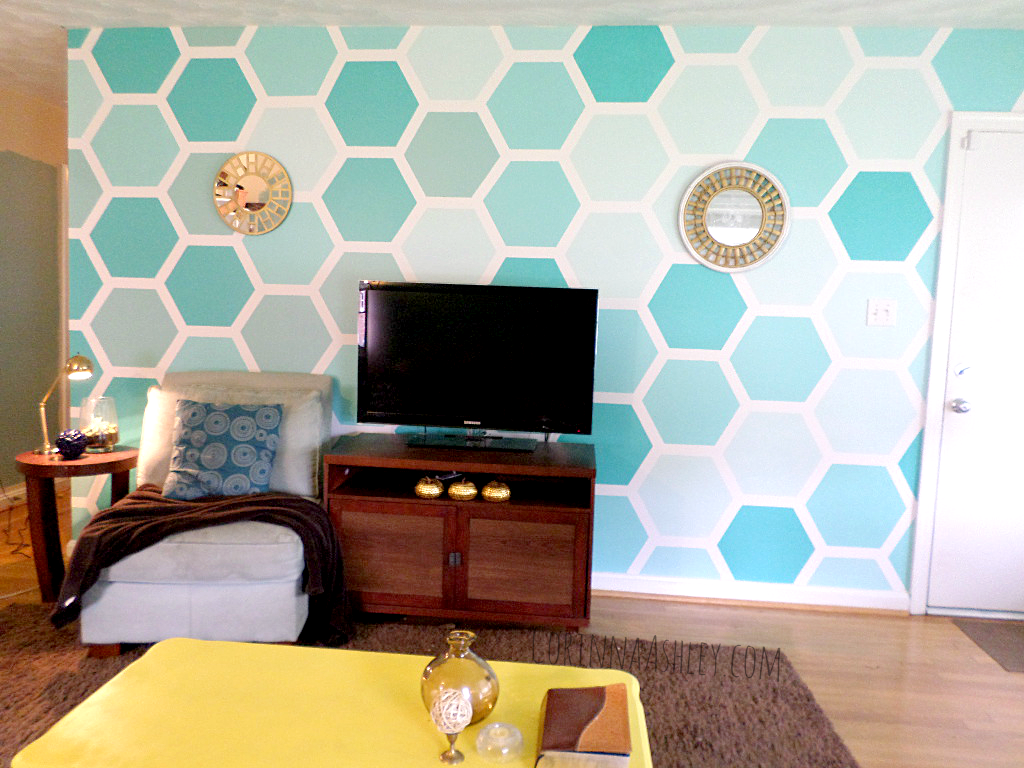 Painted Wall Designs Diy Ombre Painted Hexagon Accent Wall Walls Playrooms And