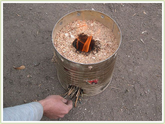 Sawdust stove for the zombie apocolypse princess