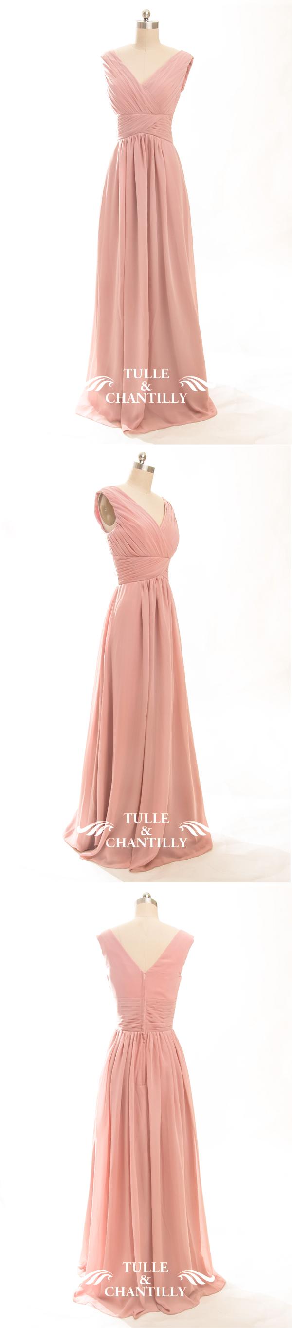Long Mauve V-neck Chiffon Bridesmaid Gown TBQP198 | Vestidos fiestas ...