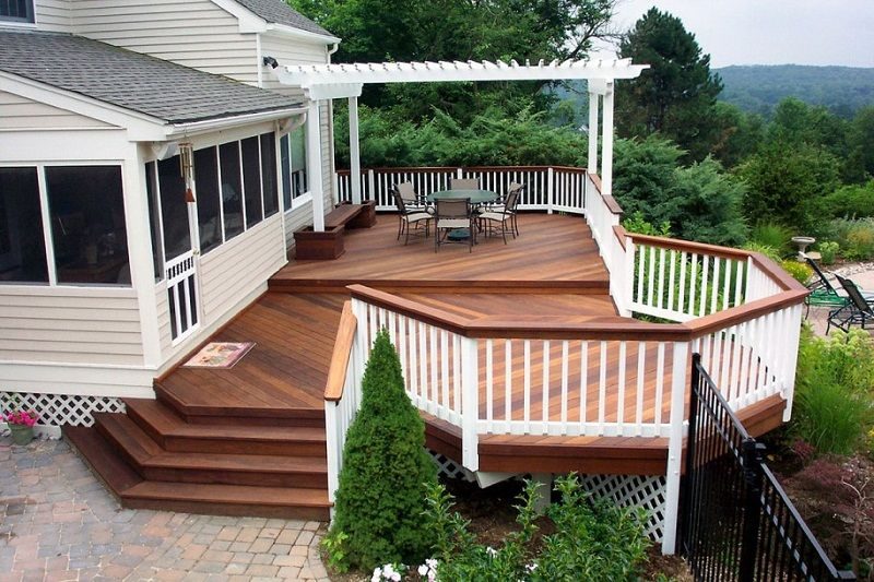 Brown Wooden Deck For White House Deck Designs Backyard Decks