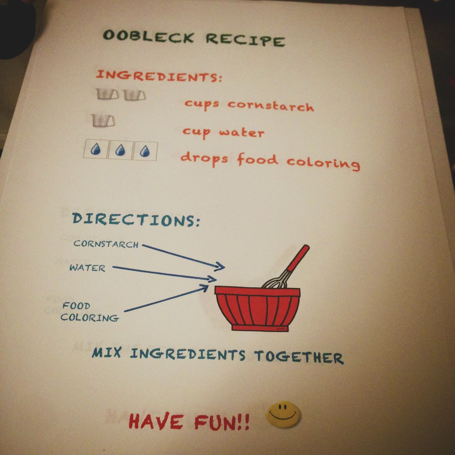 Oobleck Recipe For Kids Activity