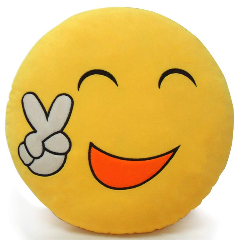 "EMOJI SMILE ADORE BLUSH CHEEKY COTTON BLEND BLACK RED YELLOW CUSHION COVER 17/"""