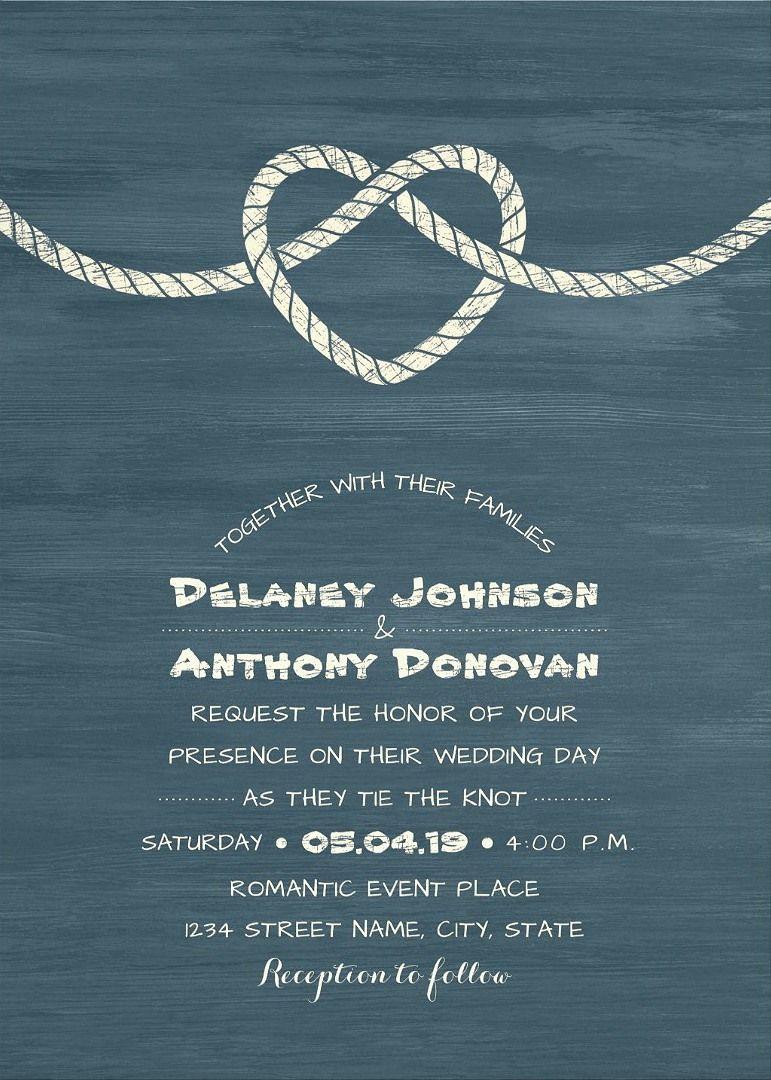 Tie The Knot Wedding Invitations - Modern Beach or Nautical Wedding ...
