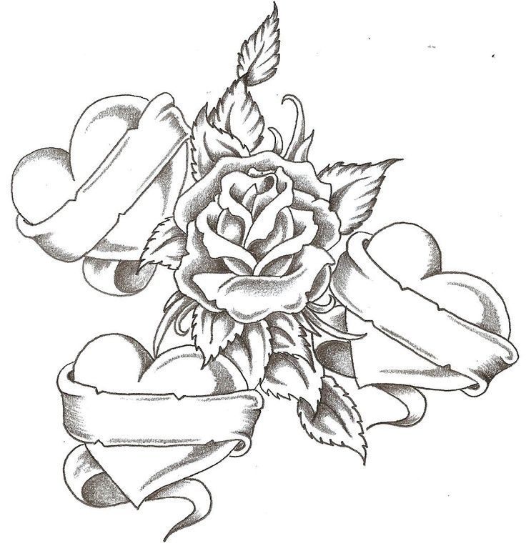 Hearts Rose Heart Coloring Pages Tattoos With Kids Names Pattern Tattoo