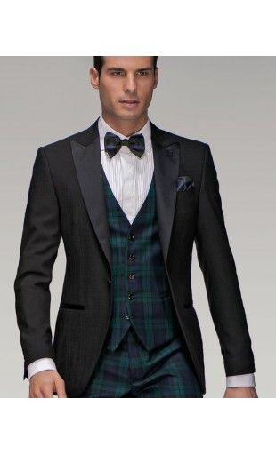 Tartan accents for a contemporary twist on black tie