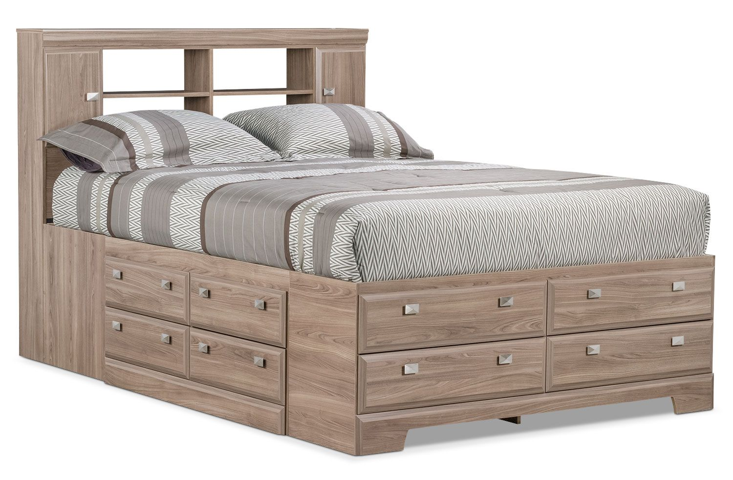 Queen Bookcase Storage Bed, Queen Size Headboard With Storage And Lights