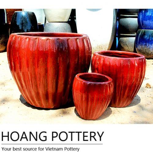 Round Red Ceramic Pots