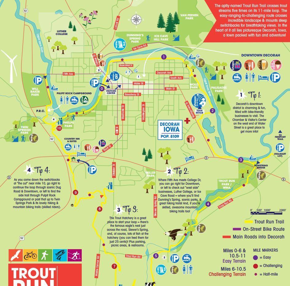 map of decorah iowa Trout Run Trail Iowa Tourism Map Travel Guide Things To Do map of decorah iowa