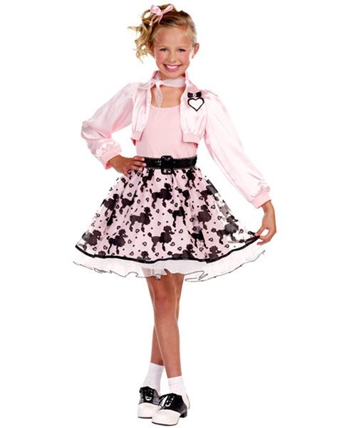 Cute 50s Pretty In Poodle Skirt Halloween Costumes For Girls
