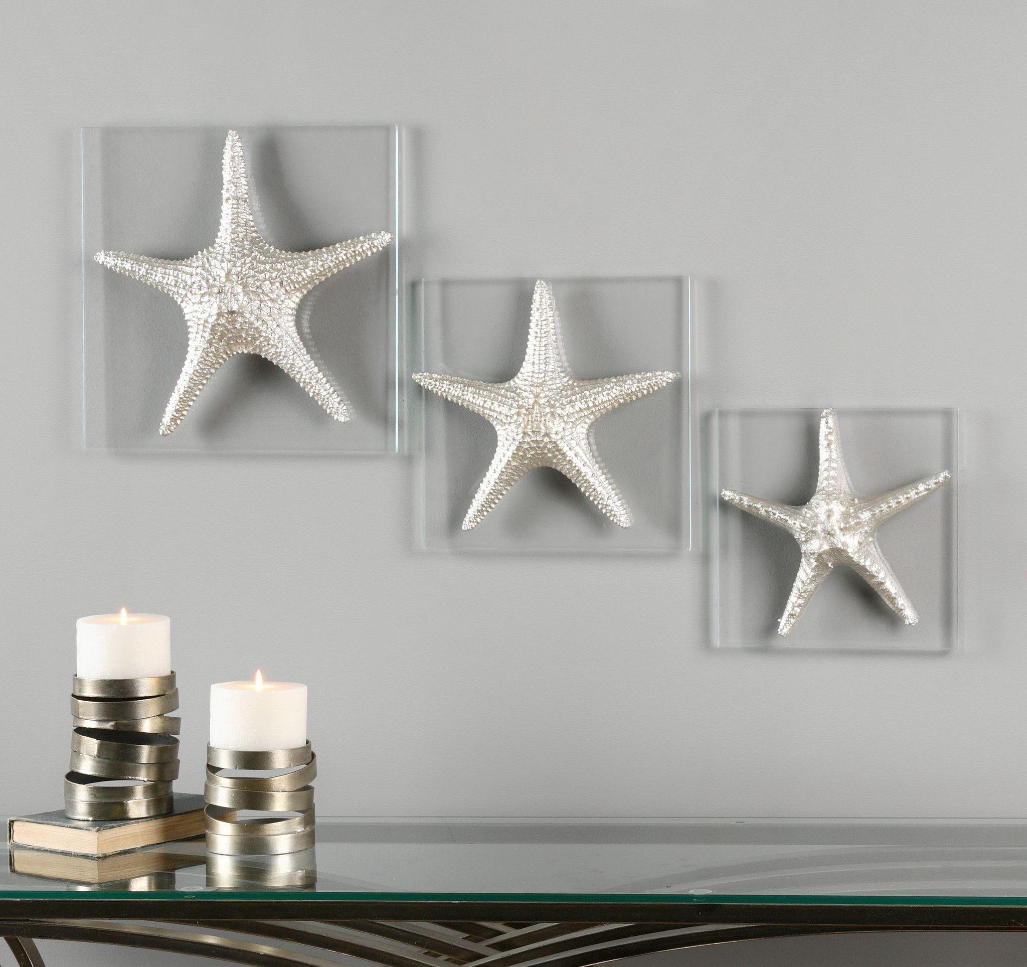 Silver Starfish Wall Art, S/3
