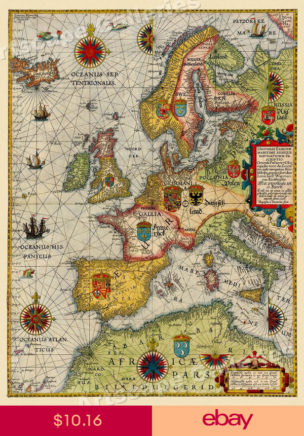 Sea Chart Of Europe 1583 Vintage Style Navigational Map 18x24 Antique Maps Map Vintage Maps