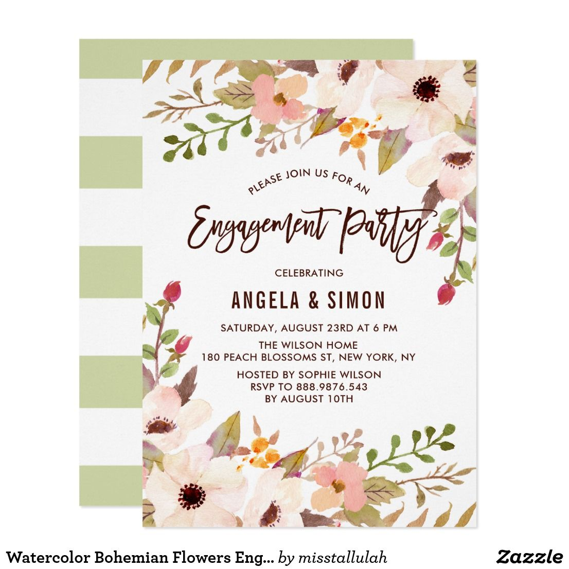 Watercolor Bohemian Flowers Engagement Party Card | Invites wedding ...