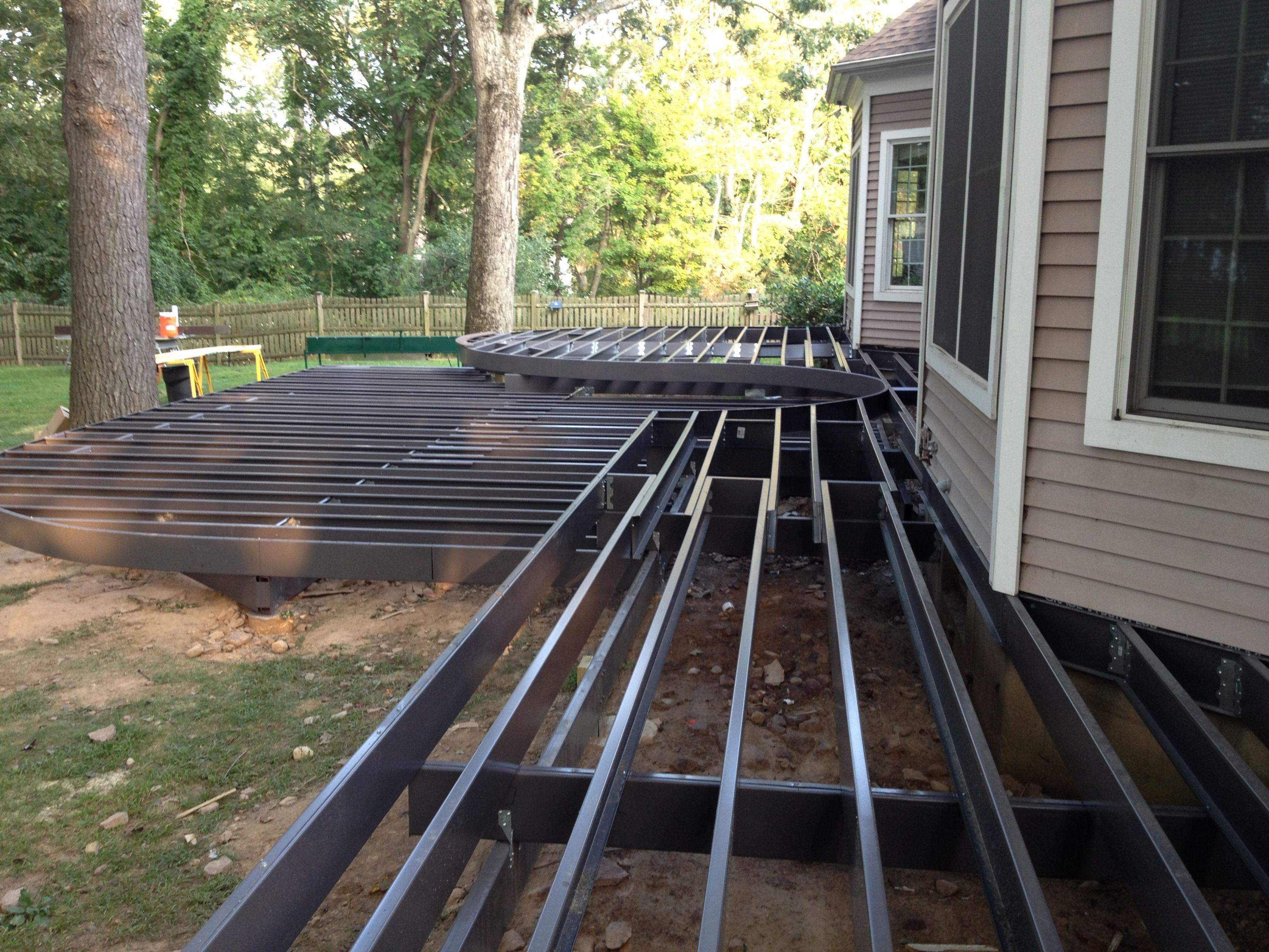 Light gauge steel custom curved Trex Elevations frame | Decks ...