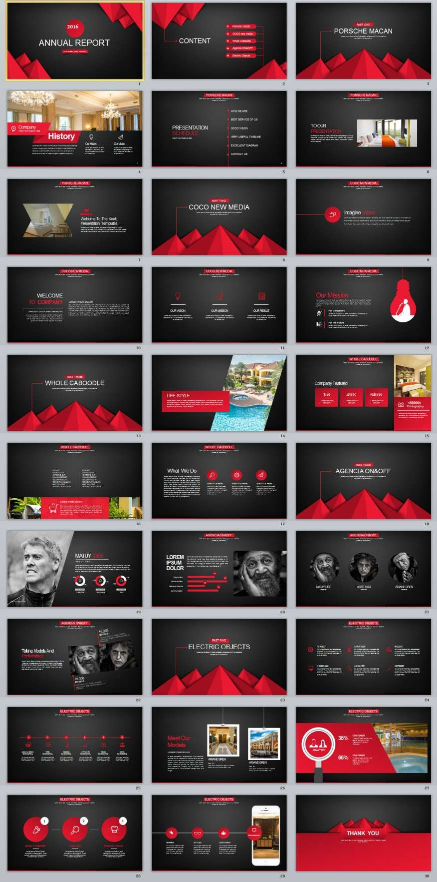 30 Red Black Business Powerpoint Template Business