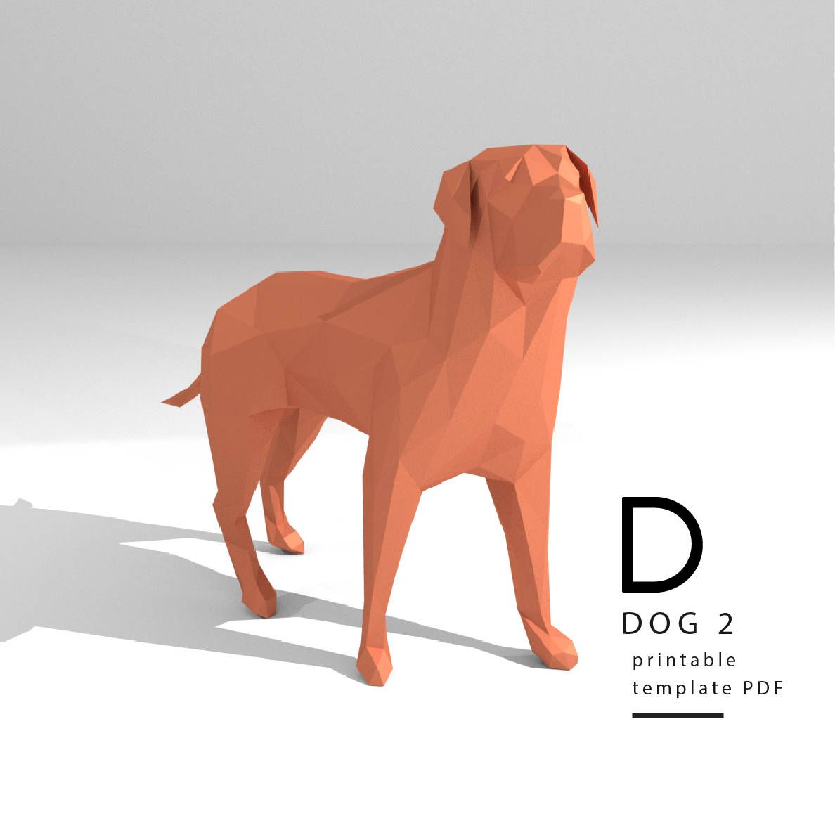 Printable Diy Template Pdf Dog 2 Low Poly Paper Model Template