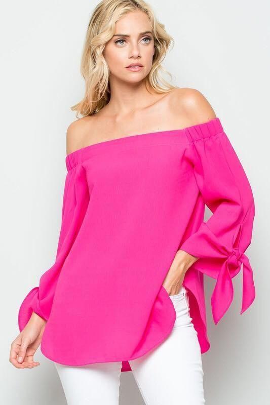 21ea76d3382 Hot Pink Off The Shoulder Top in 2019 | Ada girl | Tops, Hot pink ...