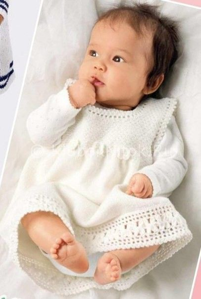 Белое платье с кружевной каймой | Вязание для девочек | Вязание спицами и крючком. Схемы вязания.