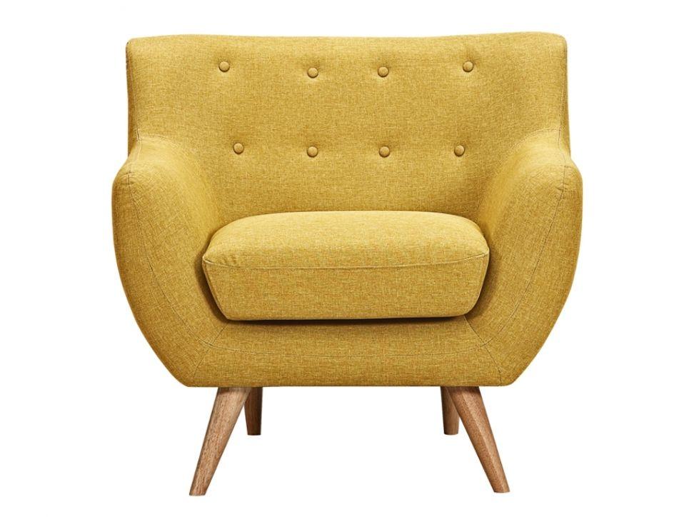 Sillón de tela SERTI - Amarillo miel con botones decorativos