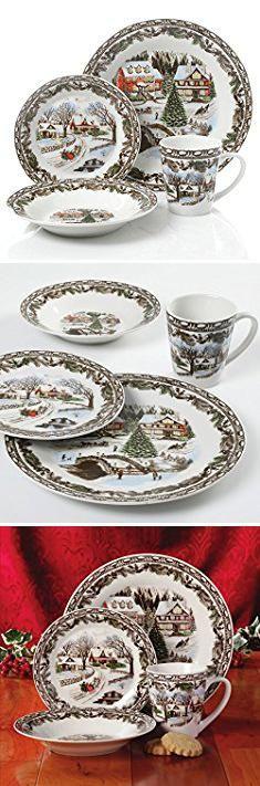 Christmas Plates. Gibson Home Christmas Toile 16 Piece Dinnerware Set Multicolor. #christmas & Christmas Plates. Gibson Home Christmas Toile 16 Piece Dinnerware ...