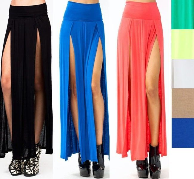 3d3015dd3be Popular Trends High Waisted Double Slits Sexy Women Maxi Skirt Colorful  www.stylecreek.com