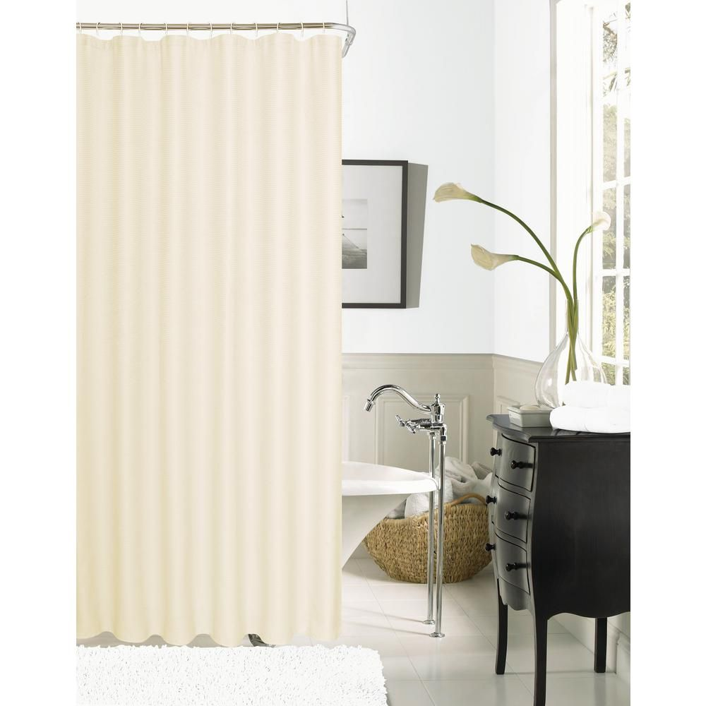 Dainty Home Hotel Collection Waffle 72 In Ivory Shower Curtain