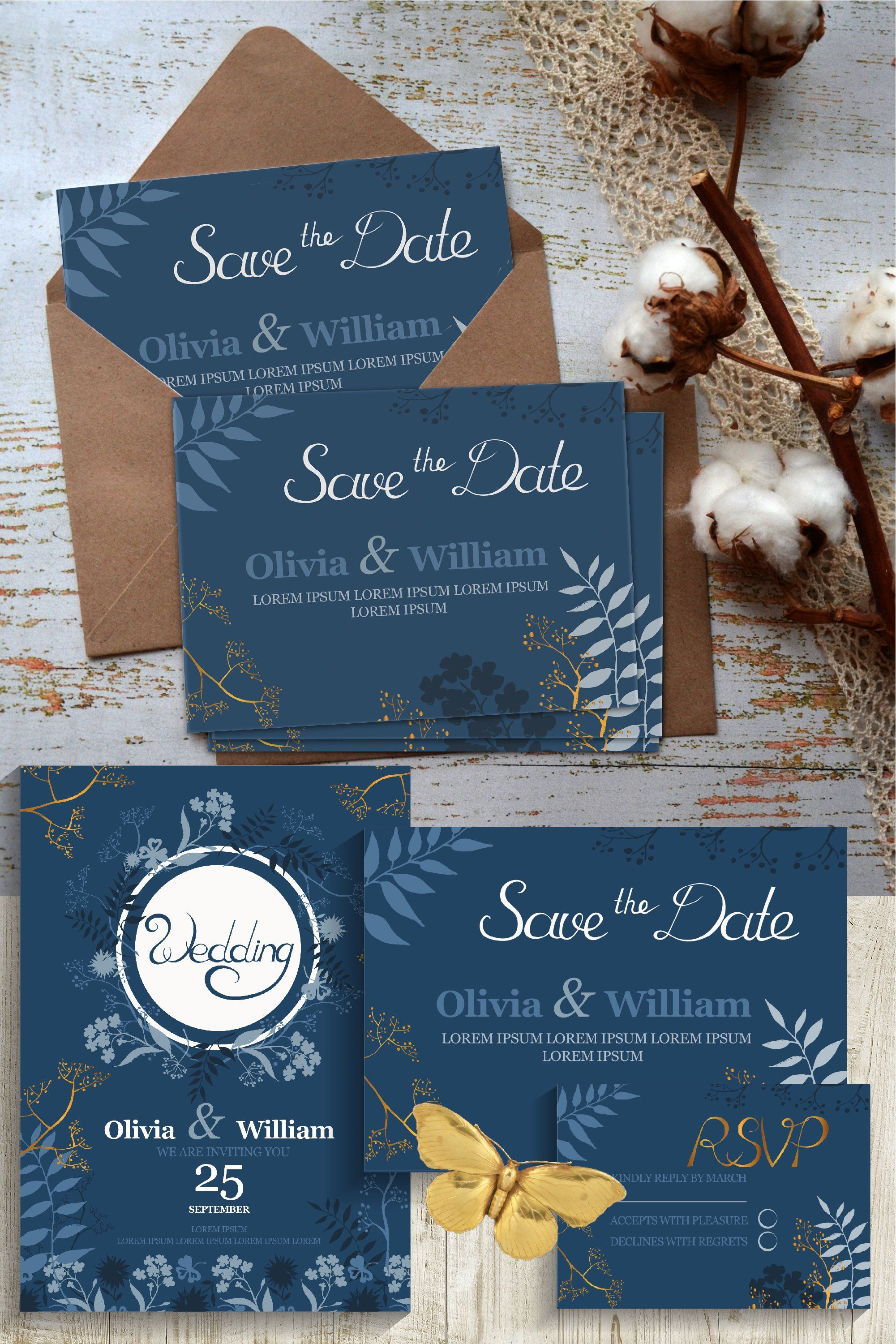Blue Gold Wedding Invitation Cards 971140 Card And Invites Design Bundles Wedding Invitation Cards Gold Wedding Invitations Blue Gold Wedding Invitation