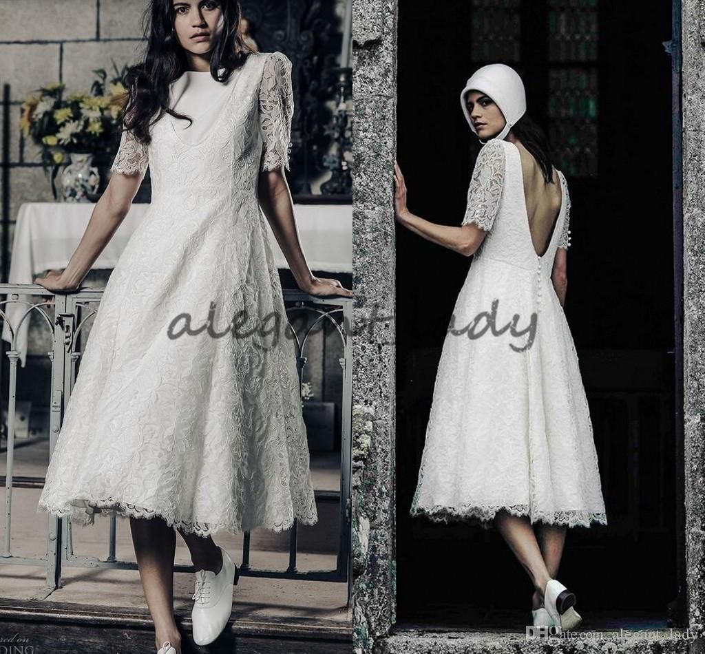 Vintage Tea Length Wedding Dresses 1920