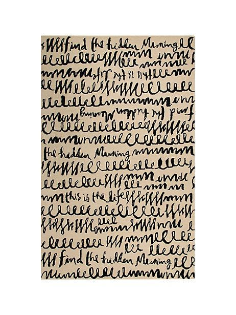 Kate Spade Find The Hidden Meaning Rug Blk Wht Size 5