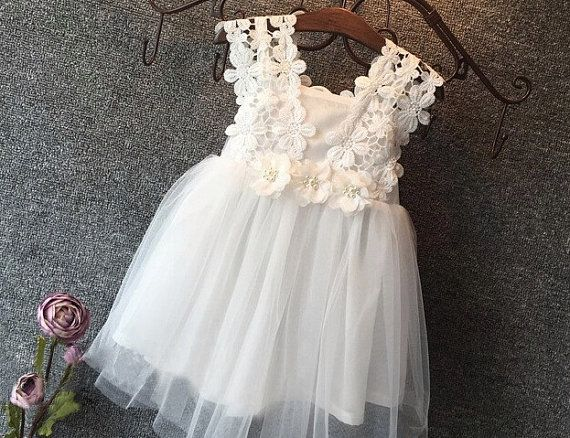 """The """"Juliette"""" Lace Tutu Dress/ Floral Birthday Girl Dress/ Christening Outfit / 12M, 2T, 3T, 4T, 5"""