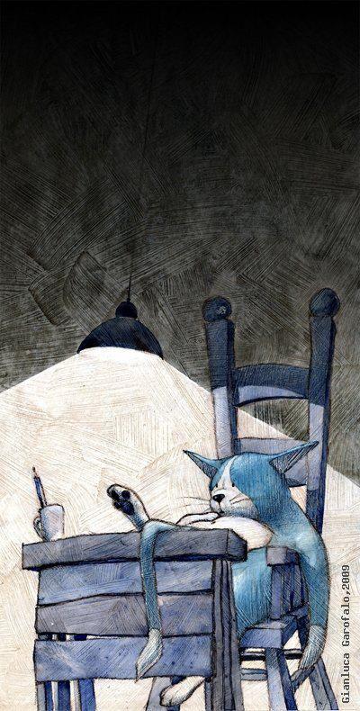 I love this sweet cat illustration by Gianluca Garofalo
