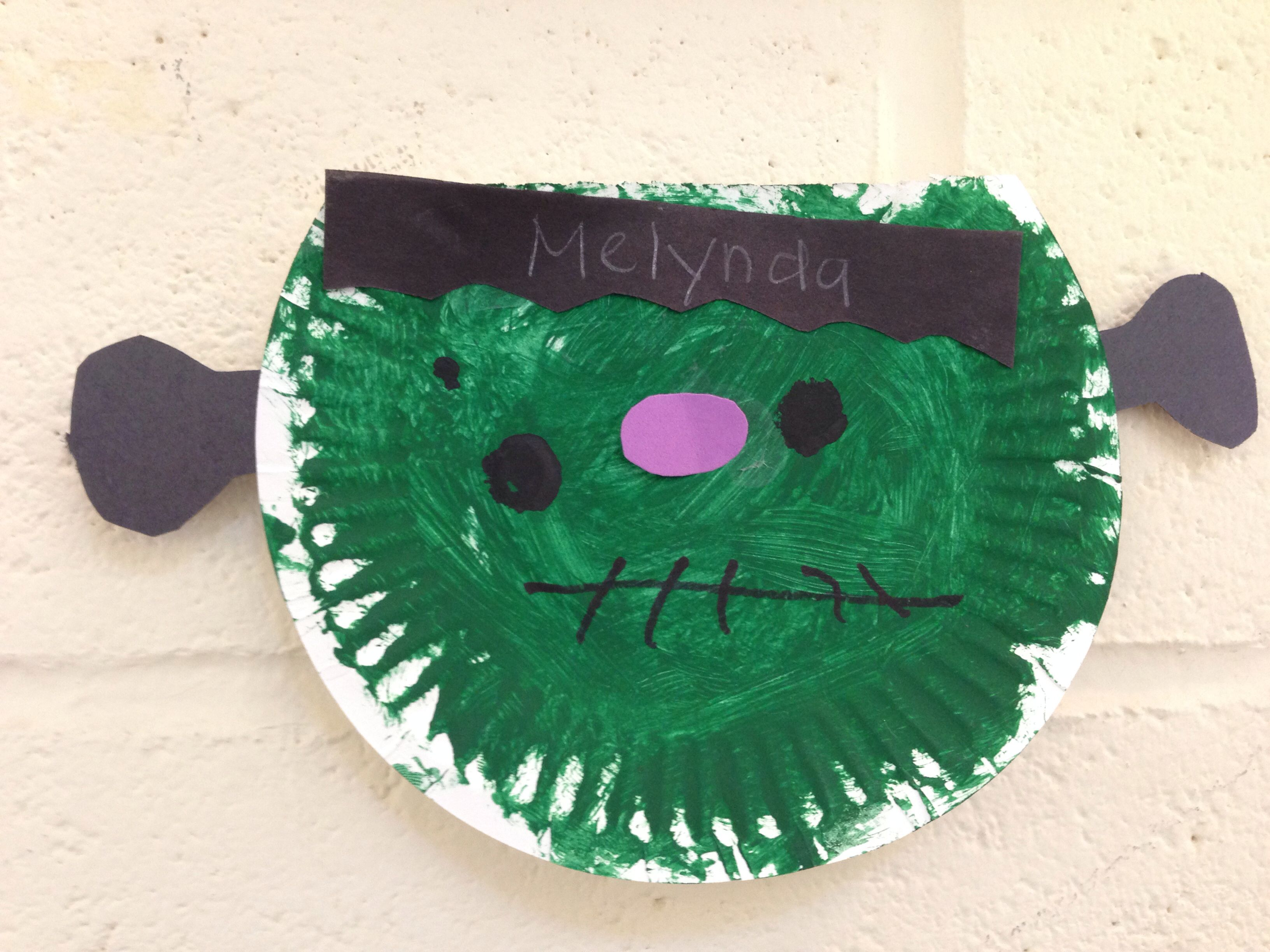 Frankenstein  -green paint (brush) -paper paint -construction paper -small blk dot bottle