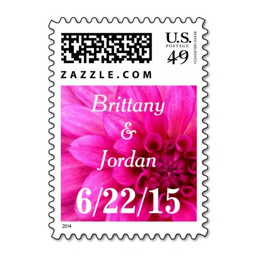 Personalized #dahlia #name and #date #postage #stamps in rich shades of hot #pink, #fuchsia, and #magenta. Spice up your #wedding, #bridal #shower, #engagement party, #vow renewal, and anniversary invitations, announcements, RSVPs, save the dates, thank you notes, correspondence, and cards. Available horizontal or vertical, different mailing $ denominations, different colors, and other matching items. Easy to customize.