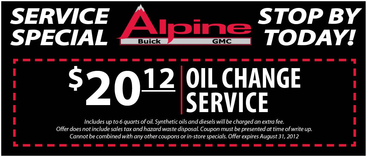 Oil Change Service 20 12 Alpinebuickgmc Buick Gmc Oil Change