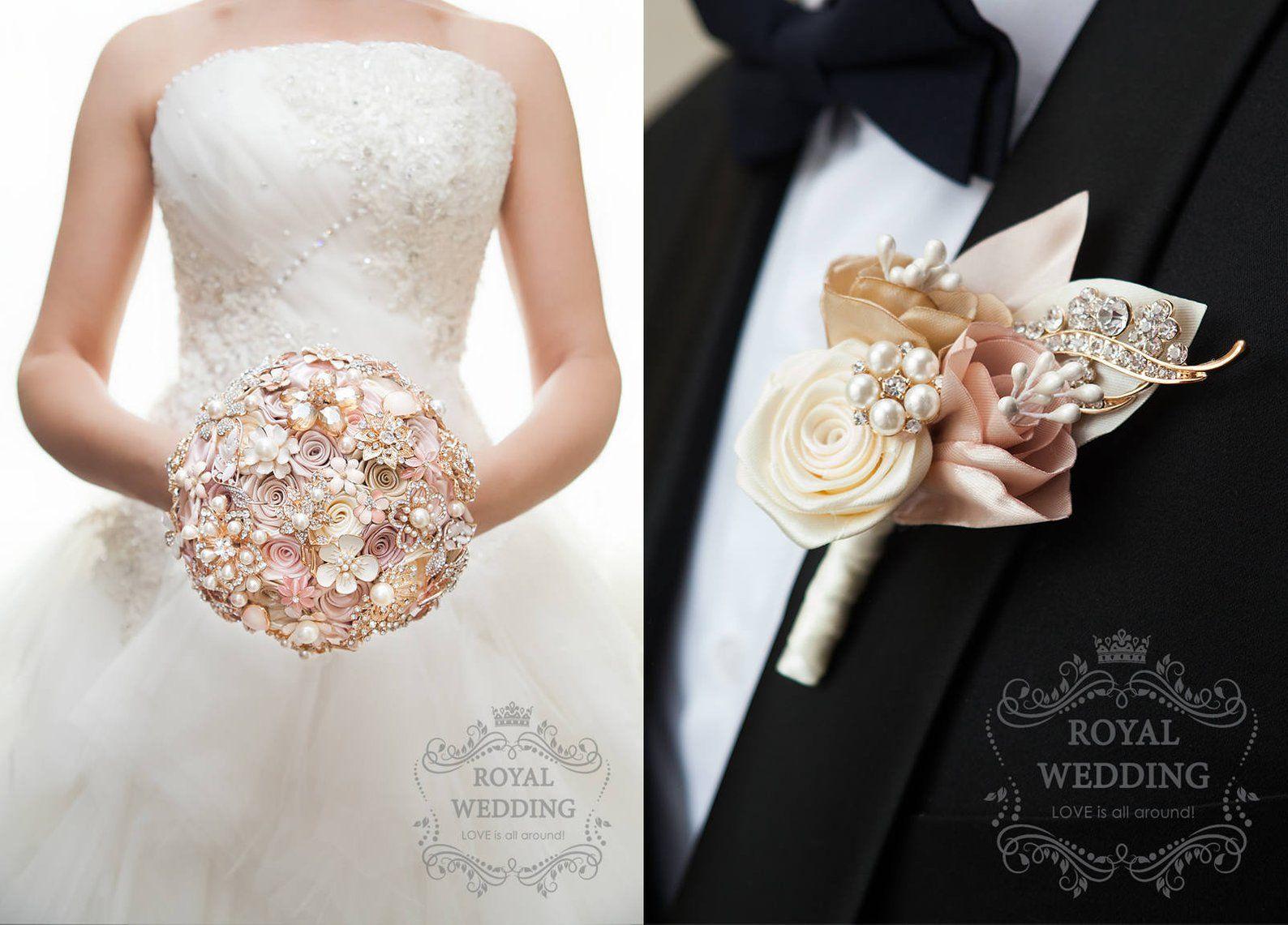 Rose Gold Wedding Bouquet Blush Pink Ivory Cream Brooch Bouquet