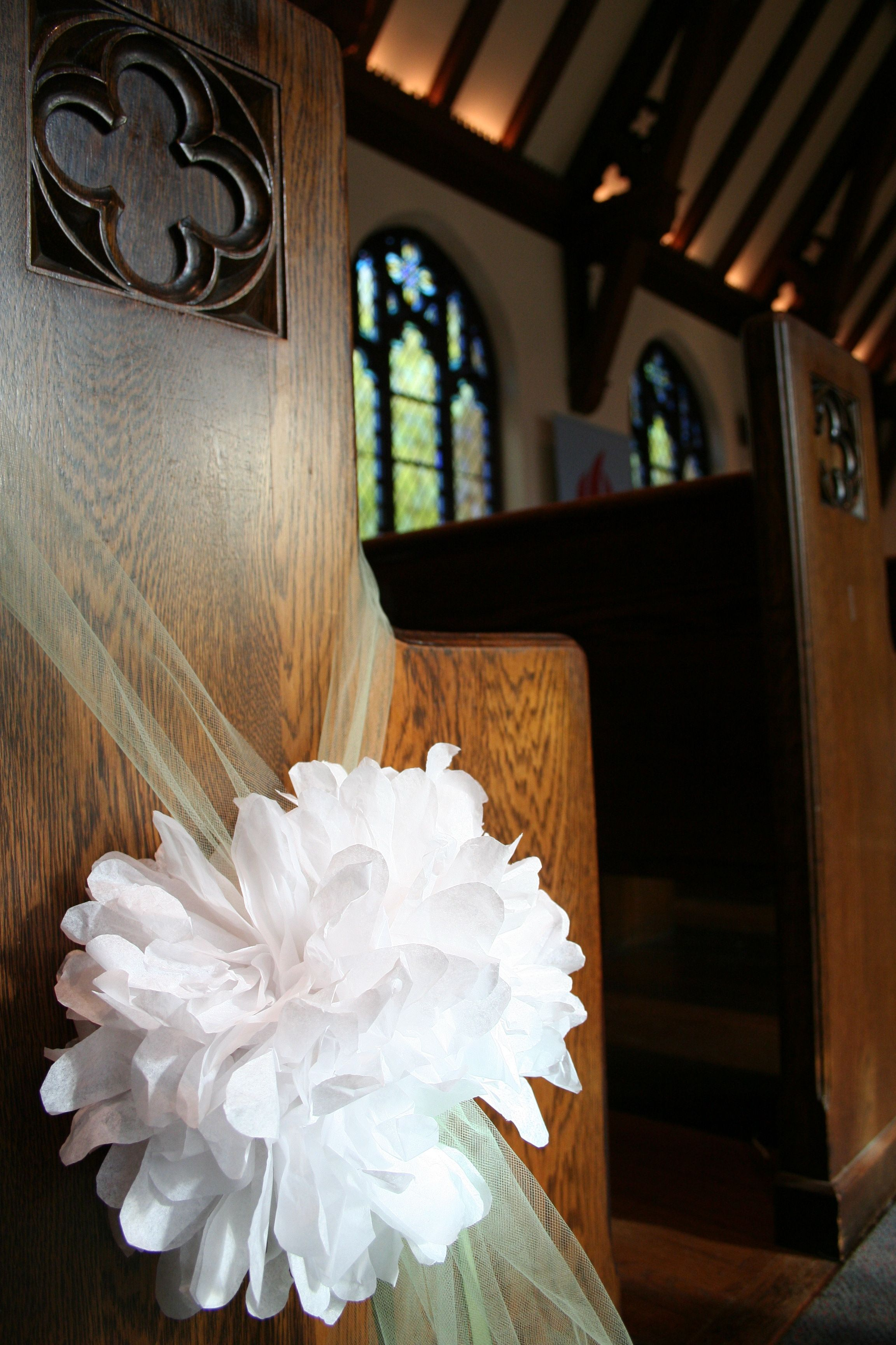 Homespun Paper Flower Poofs For Rachie S Wedding Church Aisle