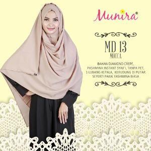 Jilbab Pasmina Instan Munira Md 13 Mocca Bahan Diamond Crepe