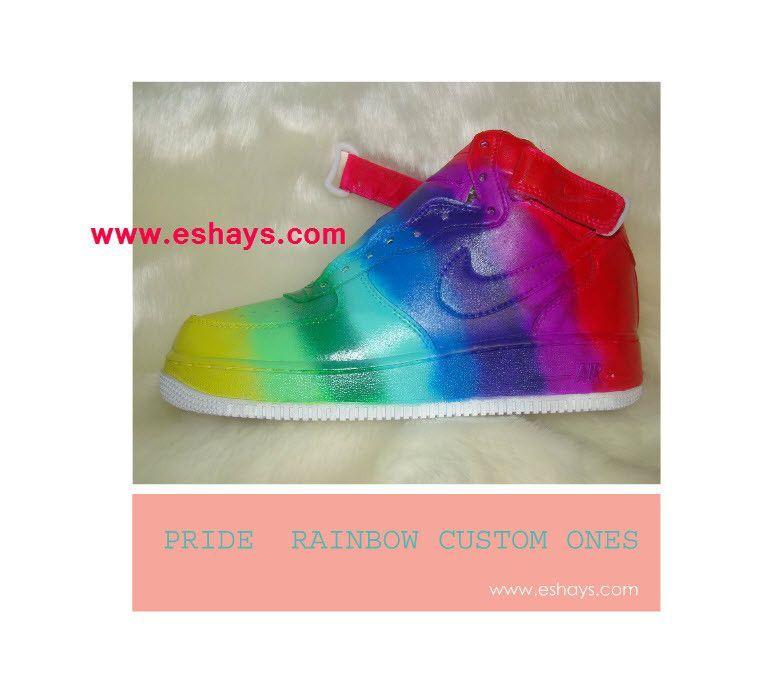 rainbow nike high tops
