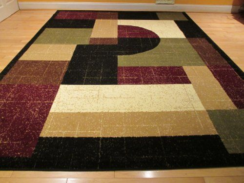 Large 8x11 Contemporary Rug Modern Area 8x10 Carpet Floor Black Burgundy Cream And Beige Rugs Kitchen Dining