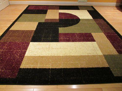 Large 8x11 Contemporary Rug Modern Area 8x10 Carpet Floor Black Burgundy Cream And Beige