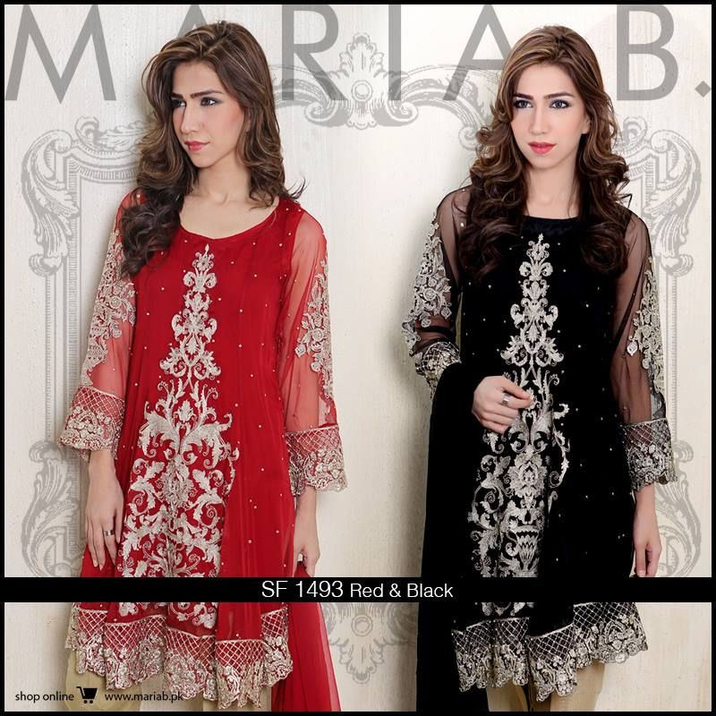 Maria B Red And Black Dress Party Wear Dress 2018 Eamber Sidhu
