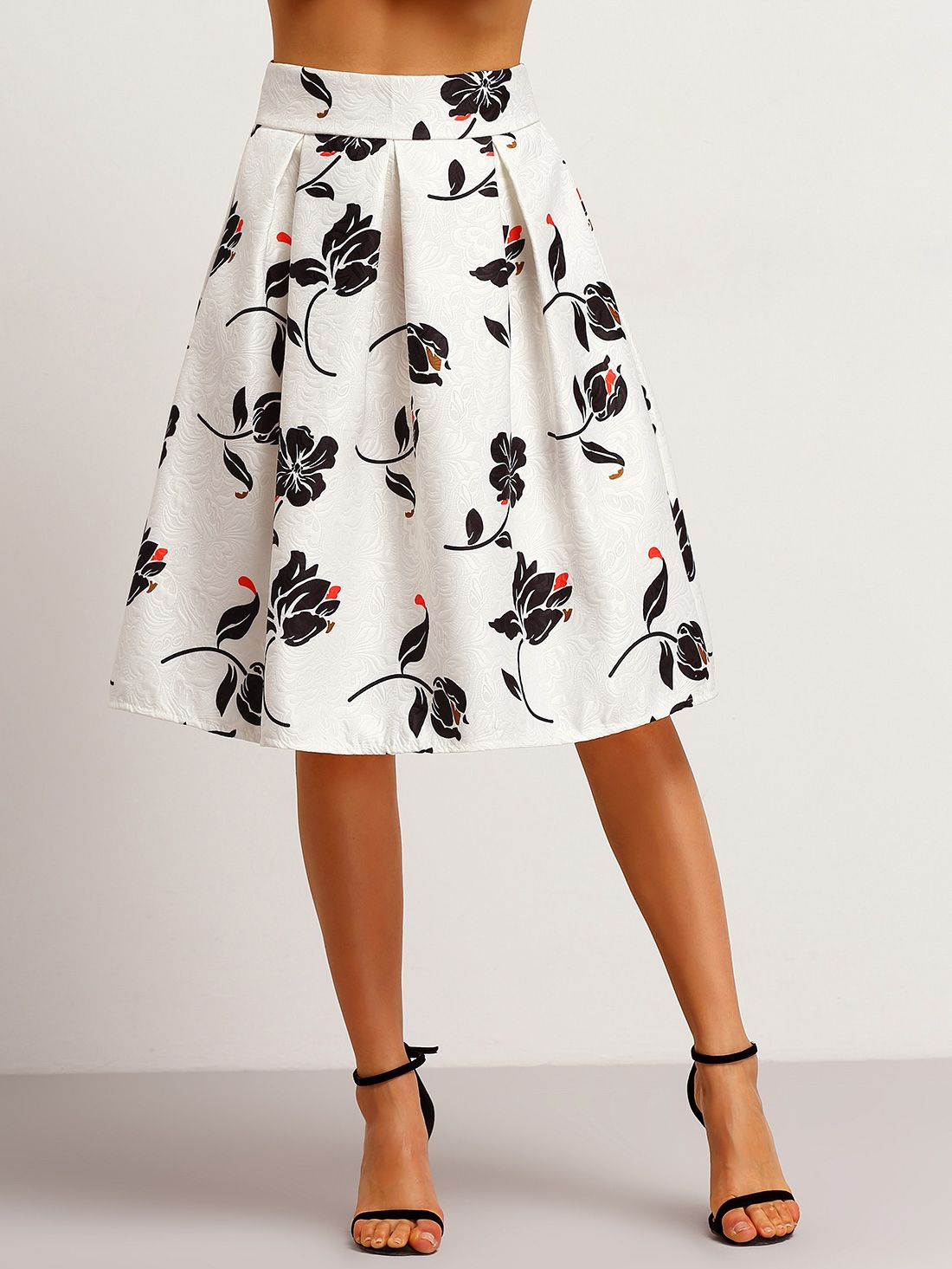 b42147c40 Shop White Floral Jacquard Flare Skirt online. SheIn offers White ...