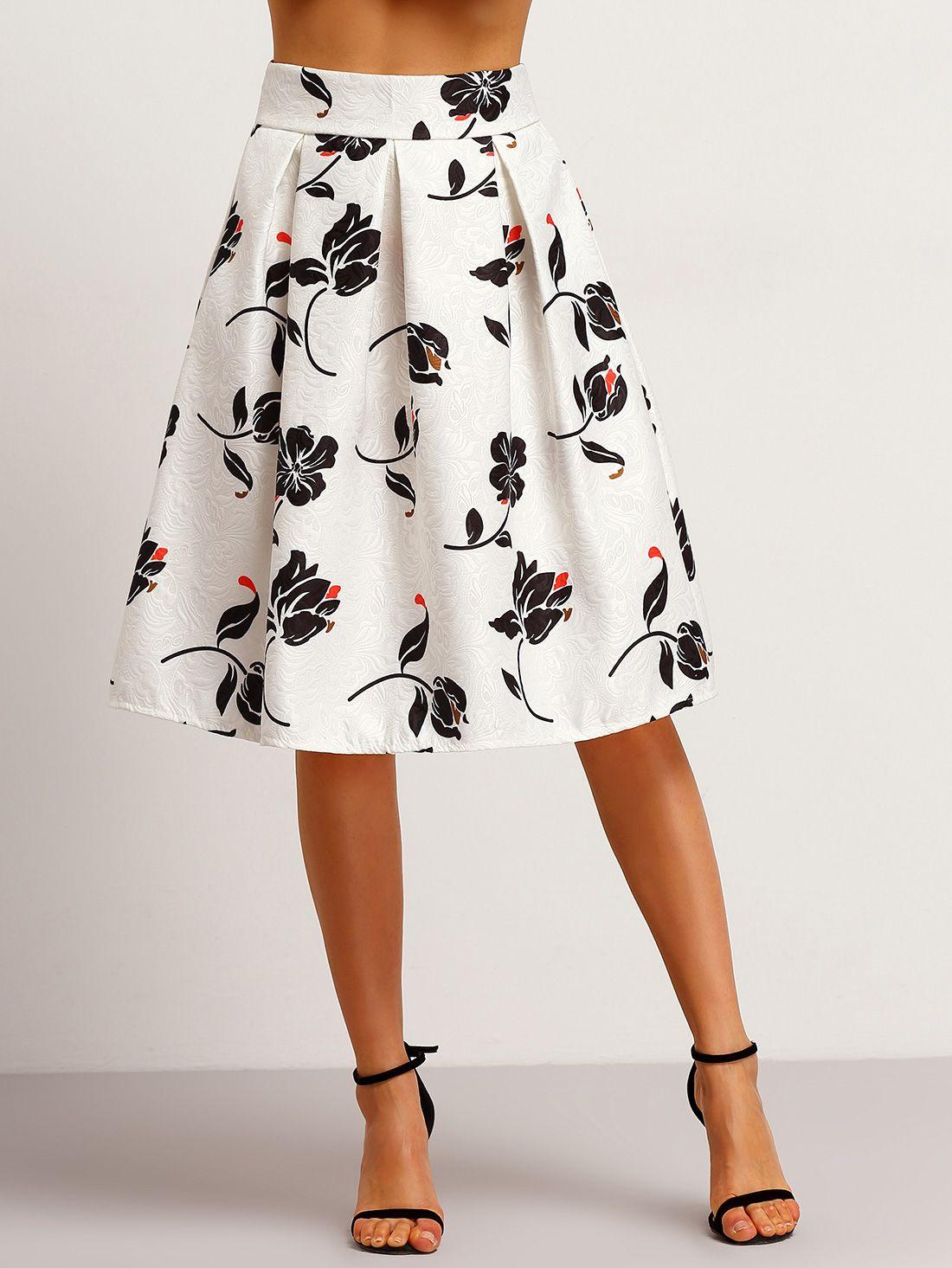 Falda flores jacquard con vuelo (Sheinside) | Faldas, Faldas