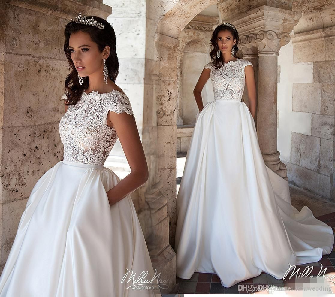 Cheap new white a line wedding dresses with pockets cheap